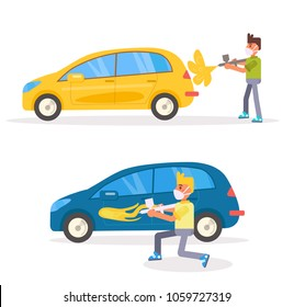 Car painting Airbrush Vector. Cartoon. Isolated art on white background. Flat