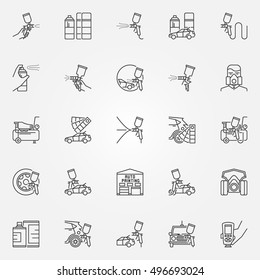 Car Painting icons set. Vector linear car or auto paint symbols in thin line style