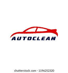 Car painting logo, emblem, badge. Vector image of the car on the strokes of brush lettering auto car.
