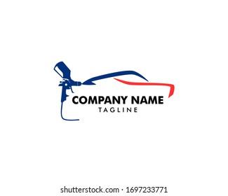Car painting logo with spray gun
