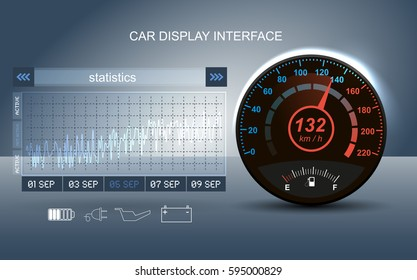 Car panel instrument panel. Electro Hud interface element