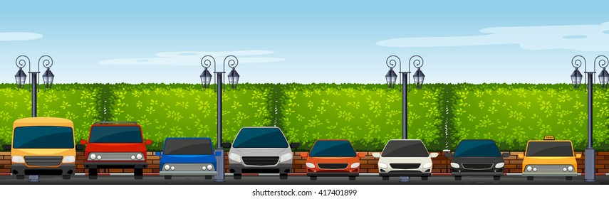 Car park full of cars illustration