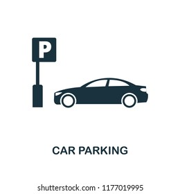 Car Parking icon. Monochrome style design from city elements collection. UI. Pixel perfect simple pictogram car parking icon. Web design, apps, software, print usage.