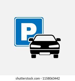 Car parking icon. Car parking symbol. Flat design. Stock - Vector illustration.