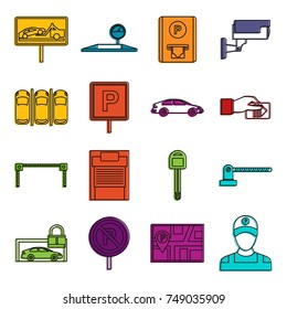 Car parking icons set. Doodle illustration of vector icons isolated on white background for any web design