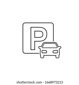 Car parking line icon on white. Vector