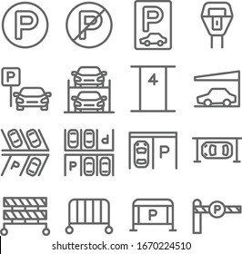 Car Parking set vector illustration. Contains such icon as Parking Gate, Roof, Automatic, Hydraulic, Barrier and more. Expanded Stroke