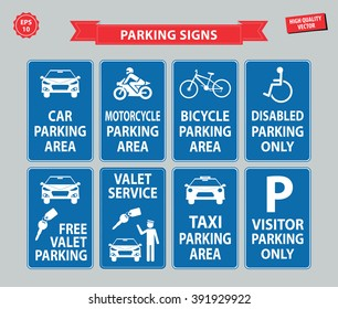 Car Parking Sign (car parking area, motorcycle, bicycle, disabled parking only, free valet parking, valet service, taxi parking, visitor parking only)