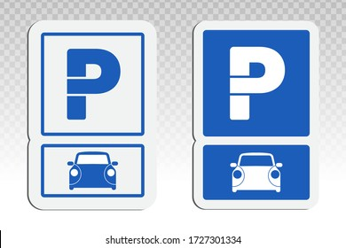 Car parking lot sign with capital P flat vector icon for vehicles traffic apps and websites