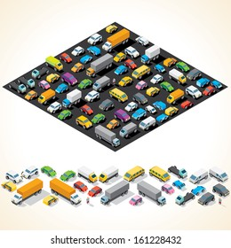 Car Parking. Various Automobiles, Trucks, Buses. Isometric Vector Illustration