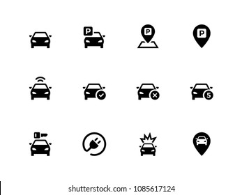 Car and Parking vector flat icons
