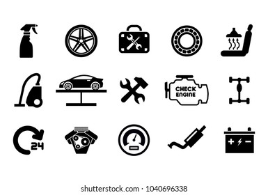 Car part set of repair icon vector illustration. Car service maintenance icon