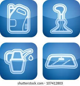 Car parts and accessories, from left to right:  Motor oil bottle, Gear shift, Oil bottle, Car window.
