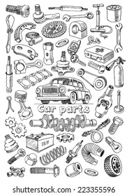 Car parts in freehand drawing style with the image of a vintage automobile on the center of illustration. Set of vector illustrations on the white background
