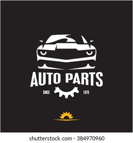 car parts icon, auto parts label, sports car silhouette logo design