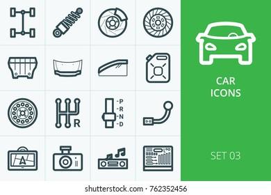 Car parts icons kit. Kit of car transmission parts, deflectors, electronics, brakes, absorber, auto tools