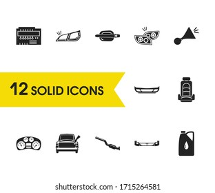 Car parts icons set with car beep, car microcircuit and bumper elements. Set of car parts icons and headlights concept. Editable vector elements for logo app UI design.