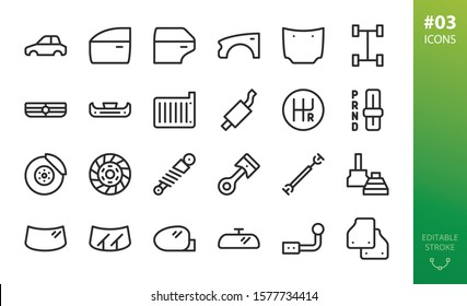 Car parts icons set. Set of car body, car door, fender, hood, grille, brake disk, piston, mats, windshield, wipers, side-mirror, cv-joint, shock-absorber, drive-shaft vector outline icons