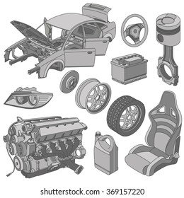 Car parts icons set isometric vector
