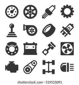 Car Parts Icons Set on White Background. Vector
