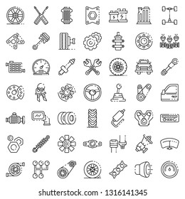 Car parts icons set. Outline set of car parts vector icons for web design isolated on white background