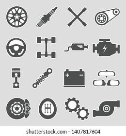 Car Parts Icons. Sticker Design. Vector Illustration.