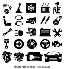 Car parts icons vector