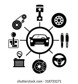 Car parts icons.vector