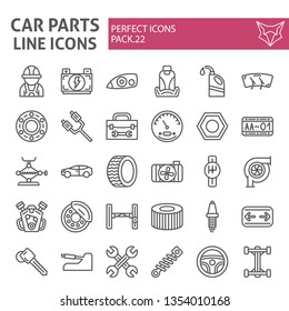 Car parts line icon set, automobile symbols collection, vector sketches, logo illustrations, auto repair signs linear pictograms package isolated on white background, eps 10.