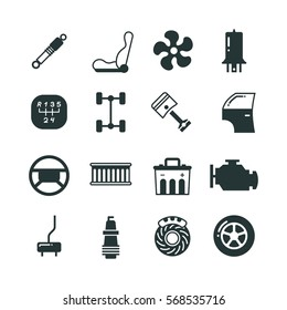 Car parts, mechanic vector icons set. Components and spare parts for car, illustration of parts for auto in black.