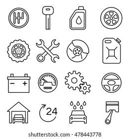 Car parts, services, auto repair thin line vector icons set. Battery and oil, brake and transmission illustration