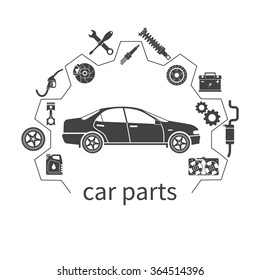 Car parts, set icons auto spare for repairs. Vector illustration. Can be used as a logo store for the sale of spare parts, web banner, print. Vector