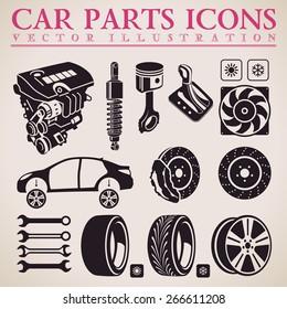 Car parts set. Vector repair car service icons set