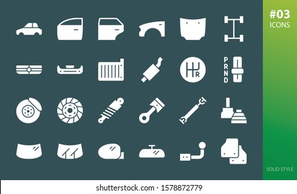 Car parts solid icons set. Set of car radiator grille, cv joint, drive cardan shaft, piston engine, clutch, bumper, transmission, exhaust pipe glyph vector icons