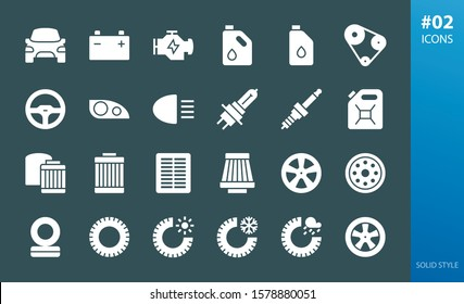 Car parts solid icons set. Set of filters, tires, car lights, motor oil, engine, timing belt, headlamp, headlight, air cabin filter, alloy wheels, steel wheel glyph vector icons