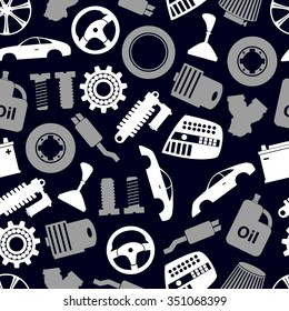car parts store simple icons seamless dark pattern eps10