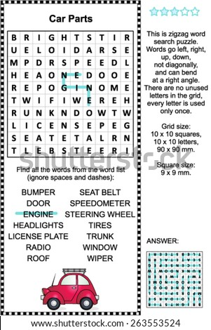 Car Parts Themed Zigzag Word Search Stock Vector Royalty Free
