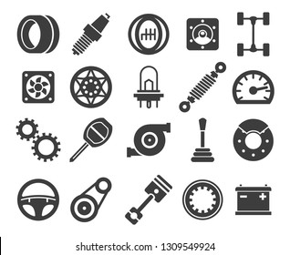 Car parts. Vector automotive part icons, engine motor and auto pad, spare filter and vehicle gearbox isolated on white background