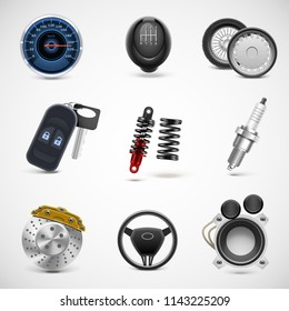 car parts vector icon set