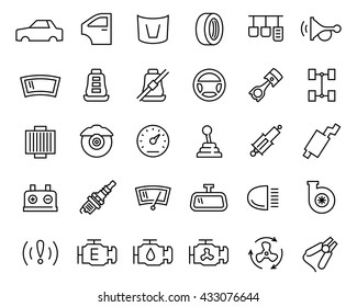 Car parts vector icon set in thin line style
