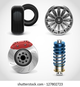 car parts vector icons set 1