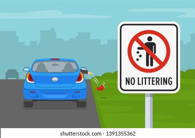 Car passenger throwing an empty glass on road. No littering sign. Flat vector illustration.