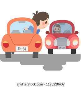 A car passing the car.