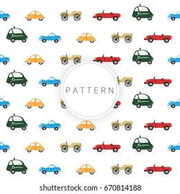 Car pattern with cute retro hand drawn