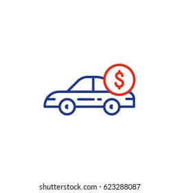 Car payment, transportation cost, buy and sell services, vector mono line icon