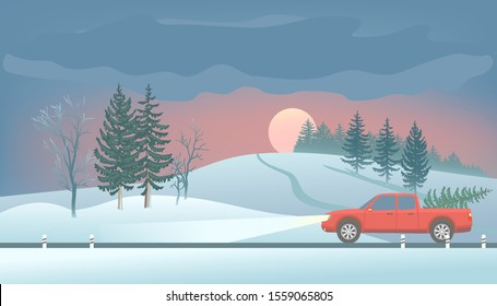 Car pickup with christmas tree. Sunset over snowy hill. Winter landscape. Fir, Trees and road  in the foreground. Forest far away. Vector illustration.