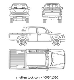 car Pickup truck double cab vector illustration blueprint
