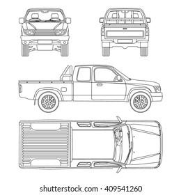 car Pickup truck half cab vector illustration blueprint