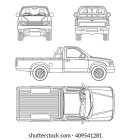 car Pickup truck one cab vector illustration blueprint
