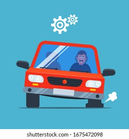 the car pierced the wheel and began to inflate. upset driver. flat vector illustration.